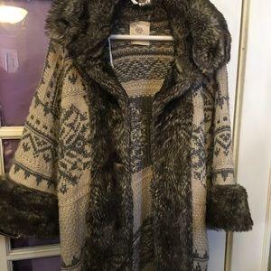 Zara knit fur sweater/coat cardigan!